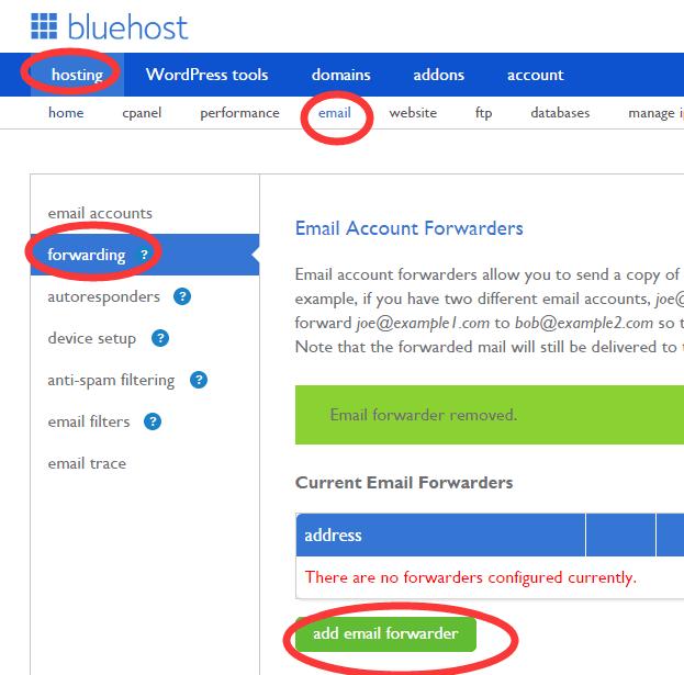 bluehost forwarding