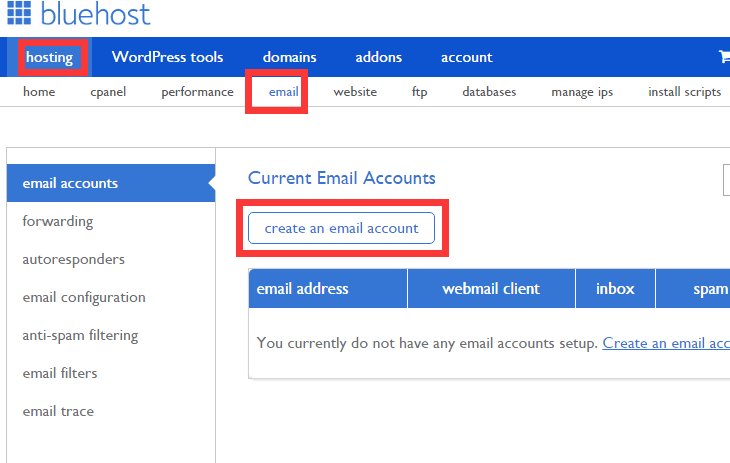 contact form 7 Bluehost add email