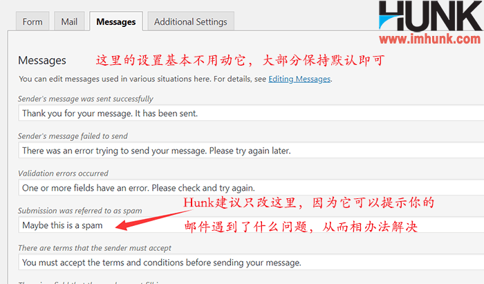 contact form 7 messages菜单设置