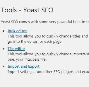 Yoast seo tools设置