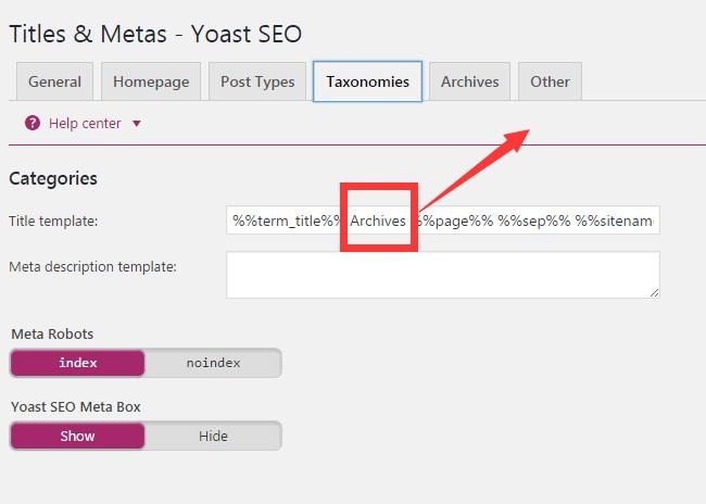 yoast seo taxonomies设置