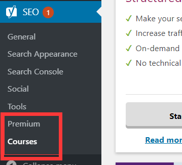 yoast seo插件premium and courses菜单