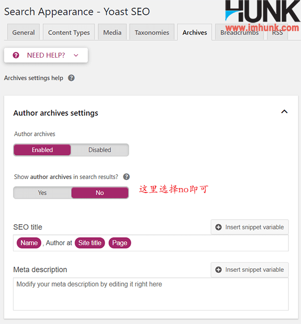 yoast seo插件search appearance子菜单之archive菜单