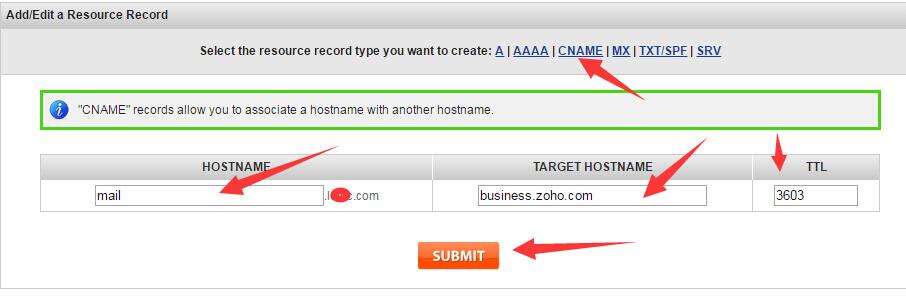 zoho mail custom link