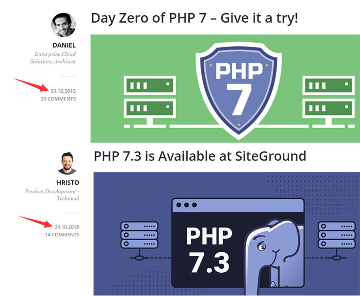 siteground支持php7.0和php7.3的日期